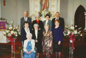 Seated: Elsie (Scaer) Roehm. Row 2: Ella (Roehm) Thieme, Amy (Schumm) Boenker, Helen (Roehm) Schwartz, Florence (Schumm) Miller. Row 3: Walter Roehm, Esther (Schumm) Krueckeberg, Mary (Schumm) Grote, Elmer Schumm. 1997 photo, funeral of Hilda (Scaer) Schumm, sister of Elsie.