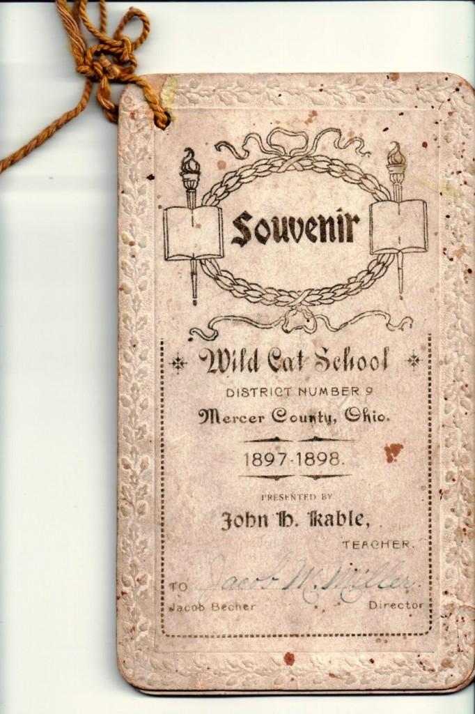 Wild Cat School Souvenir Booklet, Mercer County, Ohio, 1897-1898.