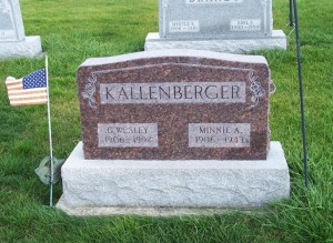 G. Wesley & Minnie A. Kallenberger, Zion Lutheran Cemetery, Chattanooga, Mercer County, Ohio.