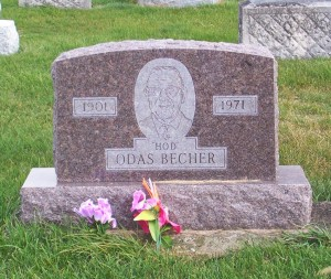 """Hod"" Otis Becher, Zion Lutheran Cemetery, Mercer County, Ohio. (2011 photo by Karen)"