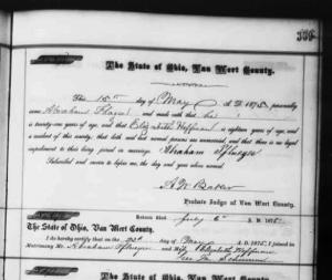 Abraham Pflueger & Elizabeth Hoffman marriage, 1875, Fan Wert County, Ohio.