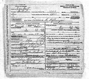 Death Certificate of Ann R. Pflueger, Van Wert Co., Ohio, 1911.