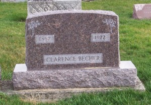 Clarence Becher, Zion Lutheran Cemetery, Chattanooga, Mercer County, Ohio. (2011 photo by Karen)