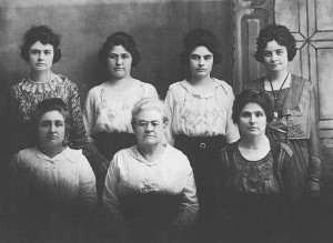 Emily (Bryan) Reid and her daughters. Front: Pearl, Emily, Laura. Back: Zorphia, Minnie, Edith, Gladys.