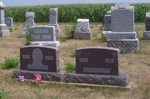 """Clarence Becher; his brother Odas """"Hod"""" Becher's marker to the left. (2011 photo by Karen)"""