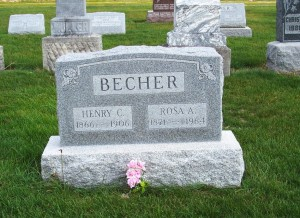 Henry C. & Rosa A. Becher, Zion Lutheran Cemetery, Chattanooga, Mercer County, Ohio. (2011 photo by Karen)