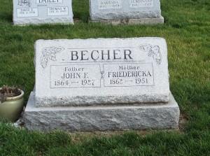 John & Friedericka Becher, Zion Lutheran Cemetery, Mercer County, Ohio. (2011 photo by Karen)