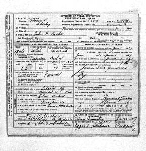 John F. Becher death certificate, Mercer County, Ohio.
