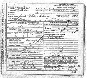 Louise Hileman death certificate, Van Wert, Ohio. 1926.