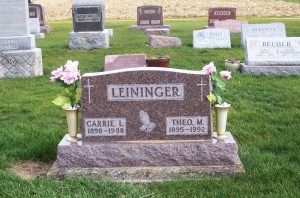 Carrie L. & Theo M. Leininger, Zion Lutheran Cemetery, Mercer County, Ohio. (2011 photo by Karen)