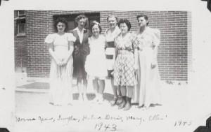 The gals, Willshire High School Class of 1943. Norma Jean Carr, Twyla Pifer, Helen Schumm, Doris Painter, Mary Daily, Ellen Schumm. (Dorothy Jean Leininger not shown.)