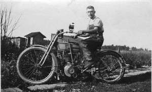 Ted Leininger on his motorcycle.