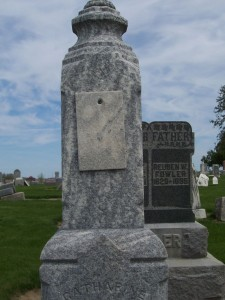Marble Photo Cover, Catharine Fowler tombstone.
