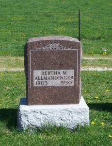 Bertha Allmandinger, Zion Lutheran Cemetery, Schumm, Van Wert County, Ohio. (2013 photo by Karen)