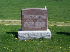 Barbara S and William C Allmandinger, Zion Lutheran Cemetery, Schumm, Van Wert County, Ohio. (2012 photo by Karen)