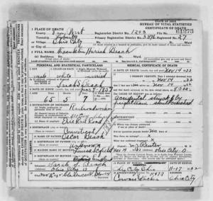 Franklin H. Beach, Ohio death certificate, 1922.