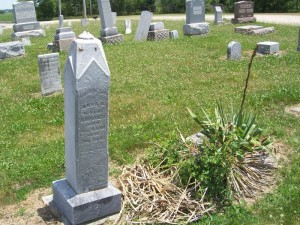 Anna 's tombstone next to tombstone of husband Nicholas. (2013 photo by Karen)