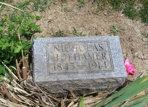 Nicholas Hoehamer, Mount Hope Cemetery, Adams County, Indiana. (2013 photo by Karen)