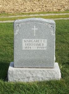 Margaret E. Hoehamer, Zion Lutheran Cemetery, Mercer County, Ohio. (2011 photo by Karen)