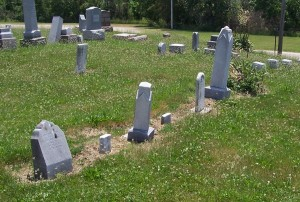 Seven Hoehamer markers in a row at Mount Hope Cemetery.