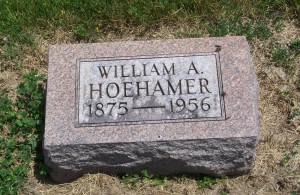 William A. Hoehamer, Mount Hope Cemetery, Adams County, Indiana. (2013 photo by Karen)