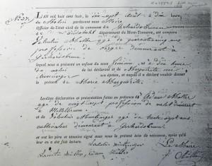 French civil birth record of Marie Marguerite Mueller, 1808, Gerhardsbrunn.