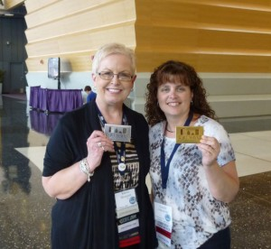 2013 Conference Ambassador Bloggers Karen & Candy with their DeBrand candy bars.