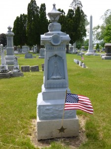 Civil War grave, Greenlawn Cemetery, Auglaize County, Ohio. (2013 photo by Karen)