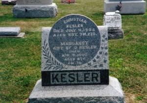 Christian and Margaret Kesler, Kessler Cemetery, Mercer County, Ohio. (2012 photo by Karen)