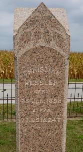 Christian Kessler [Sr] inscription, south side of stone. (2013 photo by Karen)
