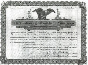 Chattanooga mausoleum Association Certificate of Ownership, Jacob Miller, 1916.