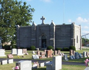 Mausoleum at the Catholic Cemetery, Celina, Ohio. (2005 photo by Karen)