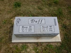 Rosa D. & Jacob W. Duff, Kessler Cemetery, Mercer County, Ohio. (2013 photo by Karen)