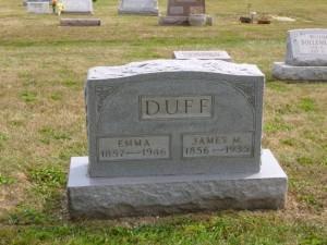 James M. & Emma Duff, Kessler Cemetery, Mercer County, Ohio. (2013 photo by Karen)