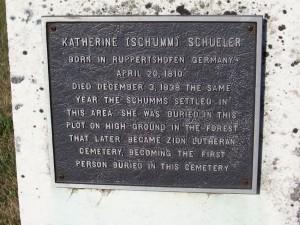 Catherina (Schumm) Schuler plaque. (2012 photo by Karen)