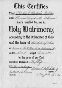 Certificate of Marriage, 3 December 1950, with embossed seal of Zion Lutheran Church, Schumm.