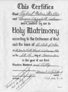 "Certificate of Marriage: Wedding was postponed due to deep snow and cold weather."" 26 November 1950."