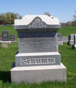 Friederick & Magdalena Schumm, Zion Lutheran Cemetery, Van Wert County, Ohio. (2012 photo by Karen)