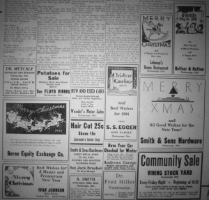 1933 Christmas edition, Willshire Herald.