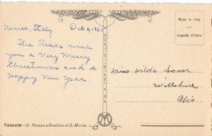 Back of postcard from Venice, 1925.
