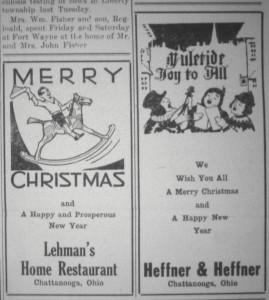 Lehman & Heffners ads, 1933 Willshire Herald.