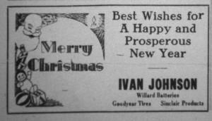 Ivan Johnson Garage Christmas ad, The Willshire Herald, 1933.