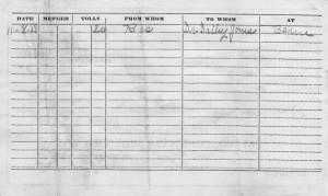 Reverse of 1927 Carl Miller telephone bill.