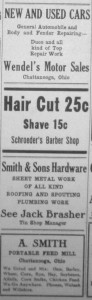 Chatt ads, Willshire Herald 1933.