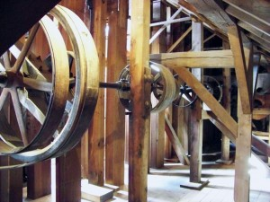 Grain moved through elevator legs, which were throughout the mill.