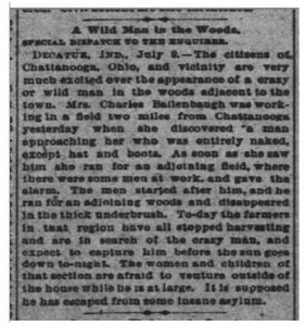 """""""A Wild Man in the Woods,"""" The Cincinnati Enquirer, 10 July 1886, p.9."""
