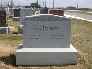 Germann, Charles R. & Hannah M., Evangelical Protestant Cemetery, Van Wert County, Ohio. (2014 photo by Karen)