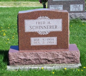 Fred H. Schinnerer, Zion Lutheran Cemetery, Schumm, Van Wert County, Ohio. (2012 photo by Karen)