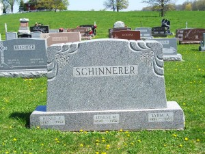 Henry F., Louise M., Lydia A. Schinnerer, Zion Lutheran Cemetery, Schumm, Van Wert County, Ohio. (2012 photo by Karen)