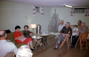 Christmas c1962, L to R: ?. Florence Miller, Donna Caffee, Homer Carr, Vernon Caffee, Rita & Bob Humbert, Fred Miller.